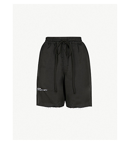 SONG FOR THE MUTE Logo-print high-rise satin shorts (Black