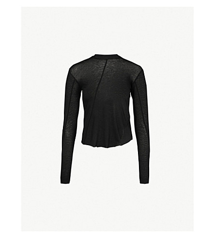SONG FOR THE MUTE Split-side cotton-jersey top (Black