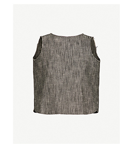 SONG FOR THE MUTE Self-tie sleeveless denim top (Chalk