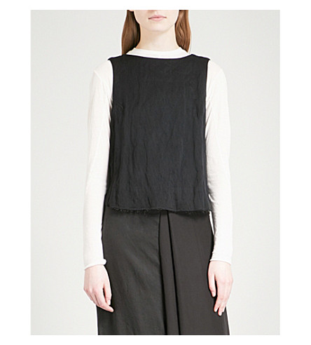 SONG FOR THE MUTE Tie-back woven sleeveless top (Black