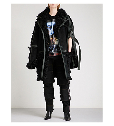Y/PROJECT Leather-trim shearling and suede coat (Black