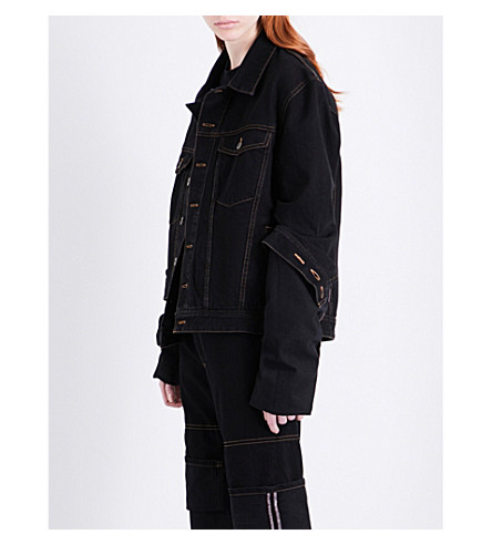 Y/PROJECT Oversized extra-long sleeve denim jacket (Black