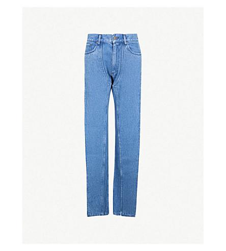 Y/PROJECT Twisted-leg high-rise wide-leg jeans (Blue+stonewash