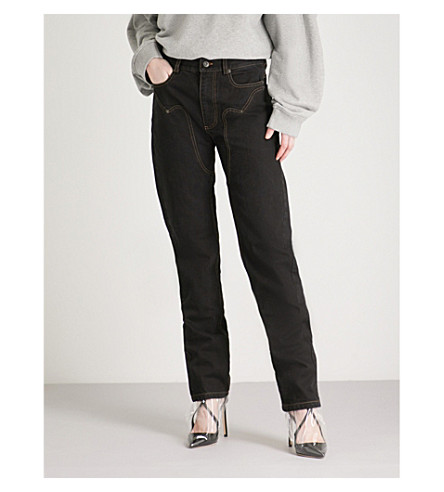 Y/PROJECT Cowboy mom-fit high-rise jeans (Black+stonewash