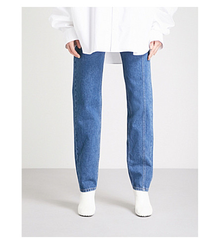 Y/PROJECT Side-panel skinny mid-rise jeans (Navy stonewash