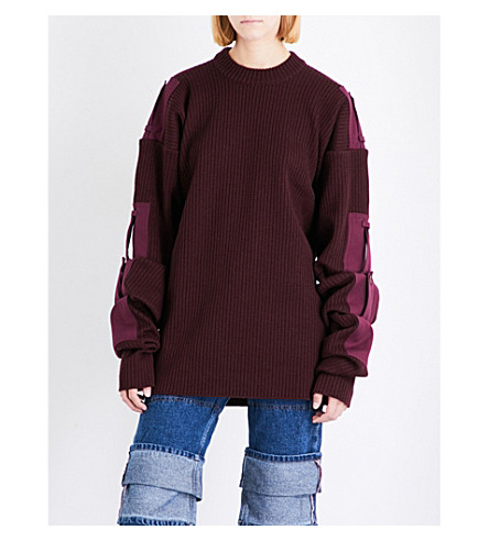 Y/PROJECT Military chunky-knit wool jumper (Bordeaux