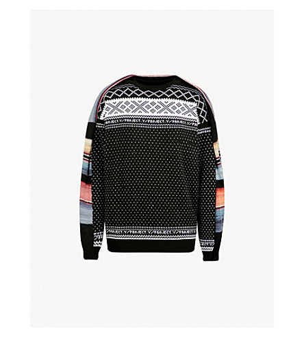 Y/PROJECT Double-panel mixed-knit jumper (Black