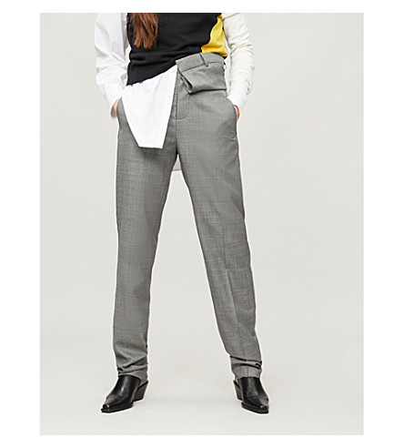 Y/PROJECT High-rise checked stretch-wool tapered trousers (Grey
