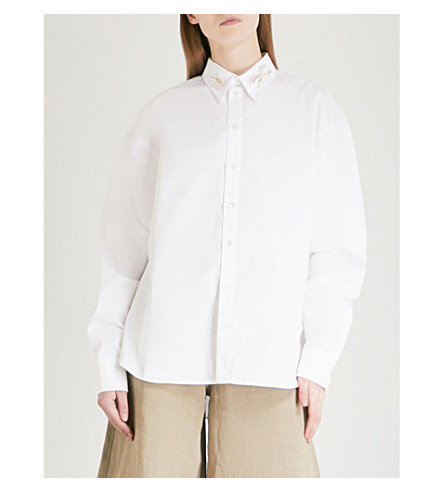 Y/PROJECT Bug pin-collar cotton-poplin shirt (White
