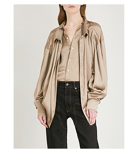 Y/PROJECT Layered oversized silk shirt (Beige