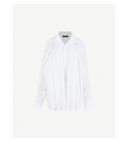 Y/PROJECT Front-panel cotton-poplin shirt (White