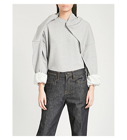 Y/PROJECT Draped cotton-jersey sweatshirt (Gris+chine