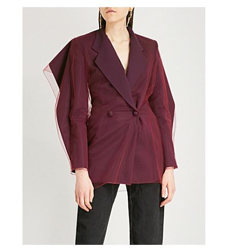 Y/PROJECT Tulle-trimmed wool-blend blazer (Purple