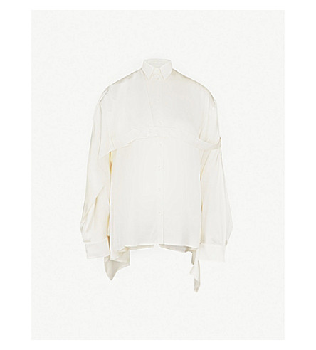 Y/PROJECT Asymmetric oversized shirt (White