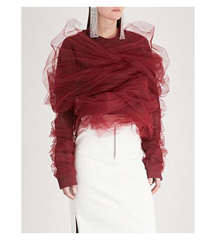 Y/PROJECT Tulle-trimmed cotton-jersey sweatshirt (Bordeaux