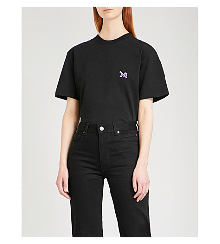 CALVIN KLEIN 205W39NYC Patch appliqué cotton-jersey T-shirt (Black