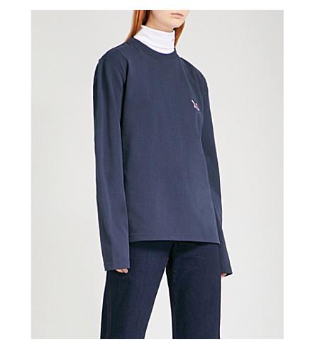 CALVIN KLEIN 205W39NYC Patch appliqué cotton-jersey sweatshirt (Navy