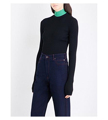 CALVIN KLEIN 205W39NYC Turtleneck ribbed-knit jumper (Black+black+algue