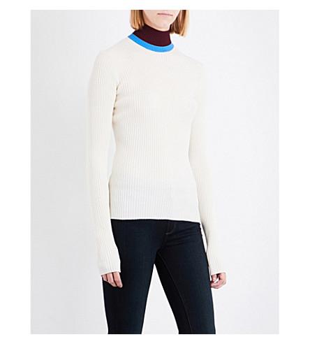 CALVIN KLEIN 205W39NYC Turtleneck ribbed-knit jumper (Off+wht/stl+blue/brgnd