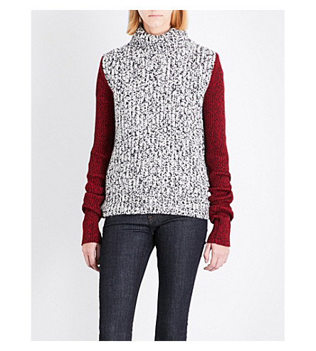 CALVIN KLEIN 205W39NYC Contrast-sleeve wool-blend jumper (White+black+red