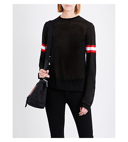 CALVIN KLEIN 205W39NYC Striped knitted top (Black/red/white