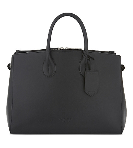 CALVIN KLEIN 205W39NYC Large leather tote (Black