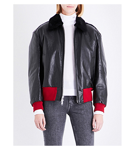 CALVIN KLEIN 205W39NYC Shearling-collar leather jacket (Black