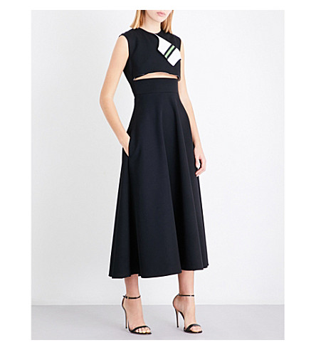 CALVIN KLEIN 205W39NYC Cutout wool-twill midi dress (Black/white