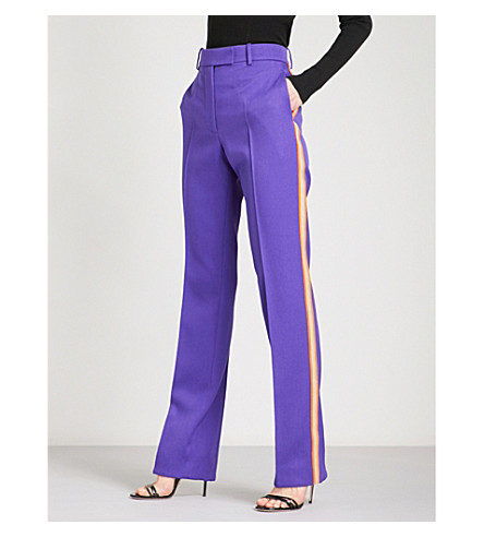CALVIN KLEIN 205W39NYC Striped straight wool-twill trousers (Aubergine