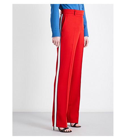 CALVIN KLEIN 205W39NYC Striped straight wool-twill trousers (Crimson