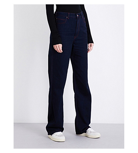 CALVIN KLEIN 205W39NYC Wide-leg straight high-rise jeans (Indigo