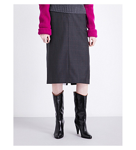 CALVIN KLEIN 205W39NYC Wall Street wool and silk-blend pencil skirt (Charcoal/black/red
