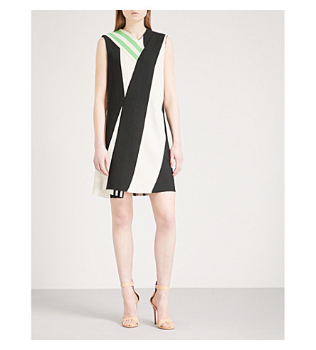 CALVIN KLEIN 205W39NYC Striped woven dress (Ivory+black