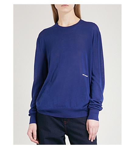CALVIN KLEIN 205W39NYC Logo-embroidered knitted jumper (Royal+blue