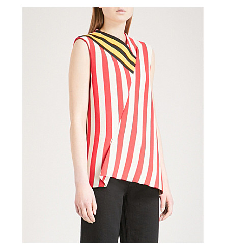 CALVIN KLEIN 205W39NYC Striped sleeveless woven top (Ivory+red