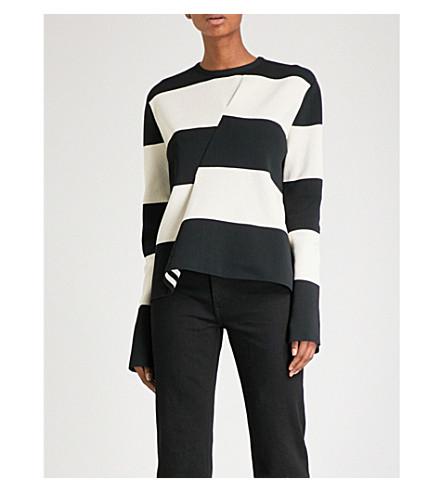CALVIN KLEIN 205W39NYC Striped cashmere jumper (Ivory+black