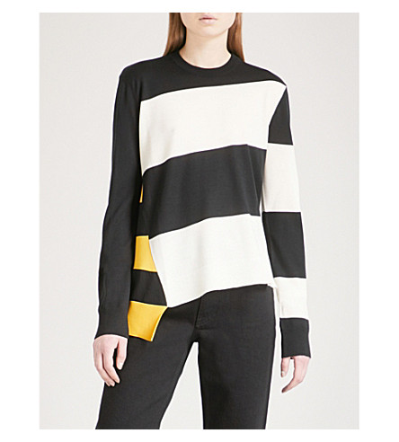 CALVIN KLEIN 205W39NYC Striped wool-blend top (Black+off+white+yellow