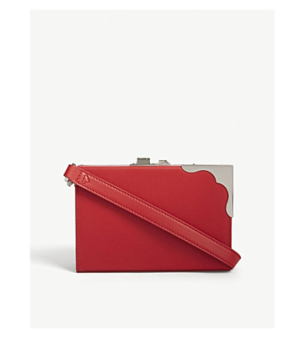 CALVIN KLEIN 205W39NYC Mini Box leather cross-body bag (Red