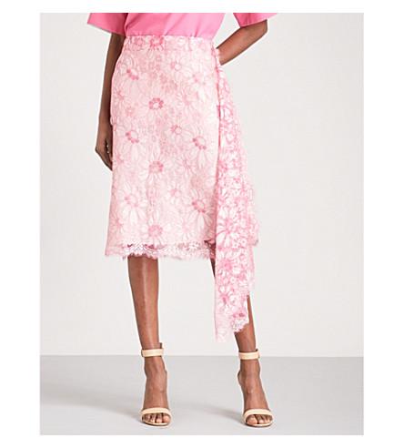 CALVIN KLEIN 205W39NYC Asymmetric high-rise lace skirt (Cyclamen