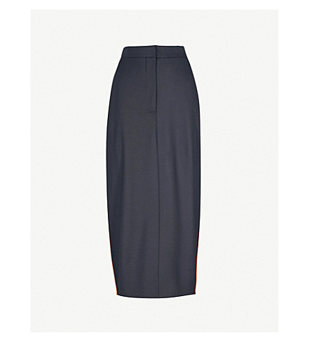 CALVIN KLEIN 205W39NYC Striped-trim stretch-wool midi skirt (Navy