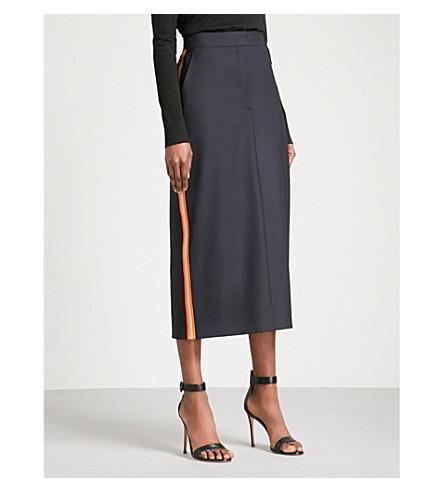 CALVIN KLEIN 205W39NYC Striped-trim stretch-wool midi skirt (Navy