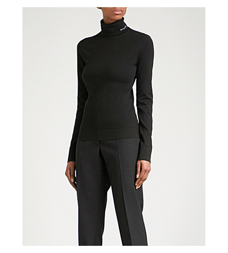 CALVIN KLEIN 205W39NYC Turtleneck cotton top (Black