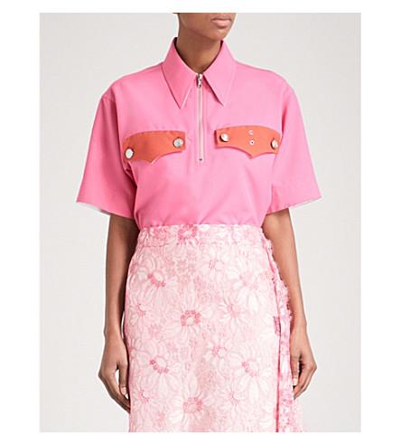 CALVIN KLEIN 205W39NYC 口袋细节梭织衬衫 (海棠