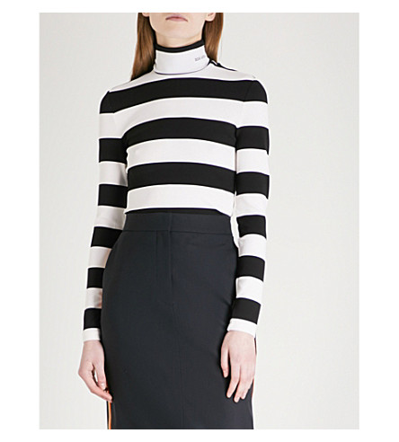CALVIN KLEIN 205W39NYC Striped turtleneck stretch top (White+black