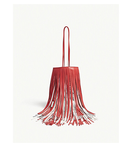 CALVIN KLEIN 205W39NYC Fringed leather bucket bag (Red