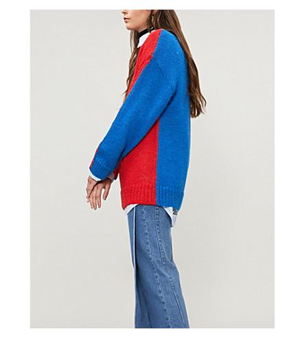 CALVIN KLEIN 205W39NYC 色羊驼毛马海毛混纺针织毛衣 (红/蓝