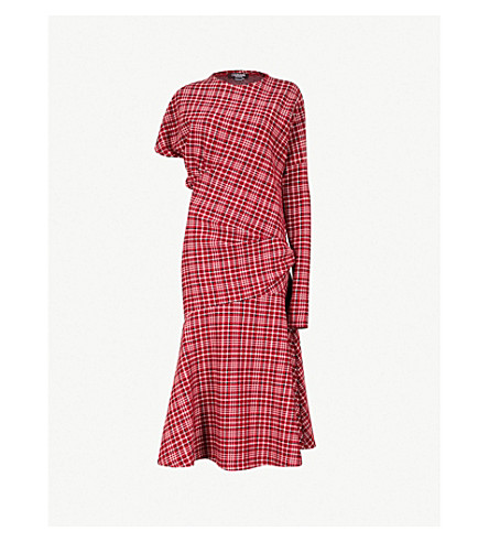 CALVIN KLEIN 205W39NYC Checked woven dress (Red/navy/white