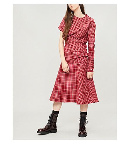 CALVIN KLEIN 205W39NYC Checked woven dress (Red/navy/white