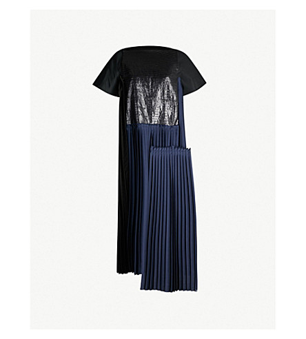 OMER ASIM对比面板折叠式缎布和亚麻布迷笛连衣裙(海军黑色