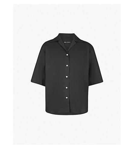 丹尼尔卡塔波利特超大号棉府绸衬衫 (黑色